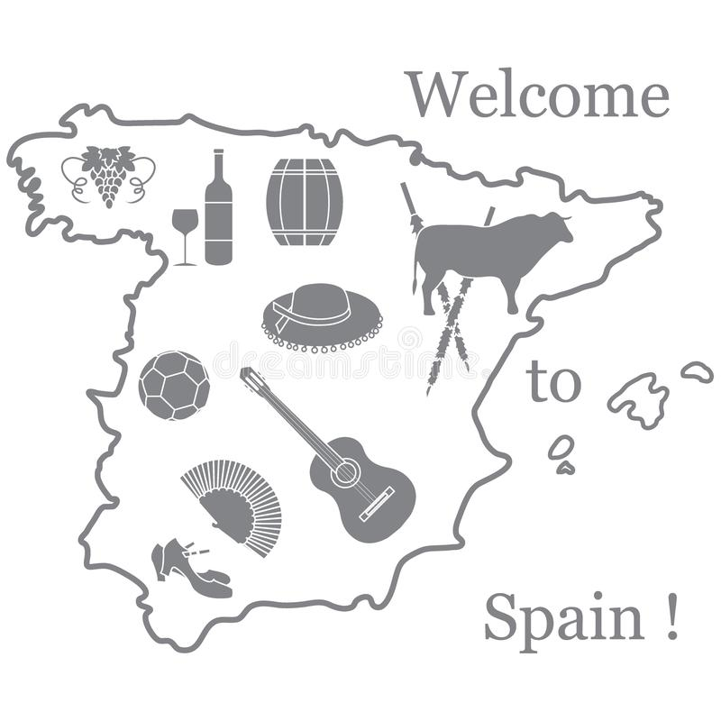 Vector illustration with various symbols of Spain. Travel and leisure. Design for banner, poster or print. Vector vector illustration