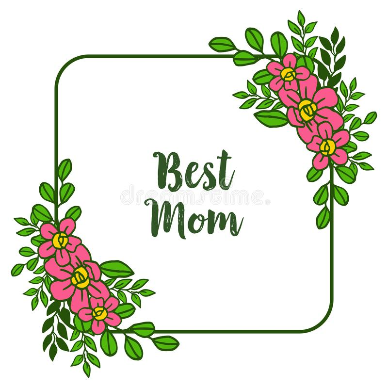Vector illustration various texture of pink flower frame with style card of best mom vector illustration