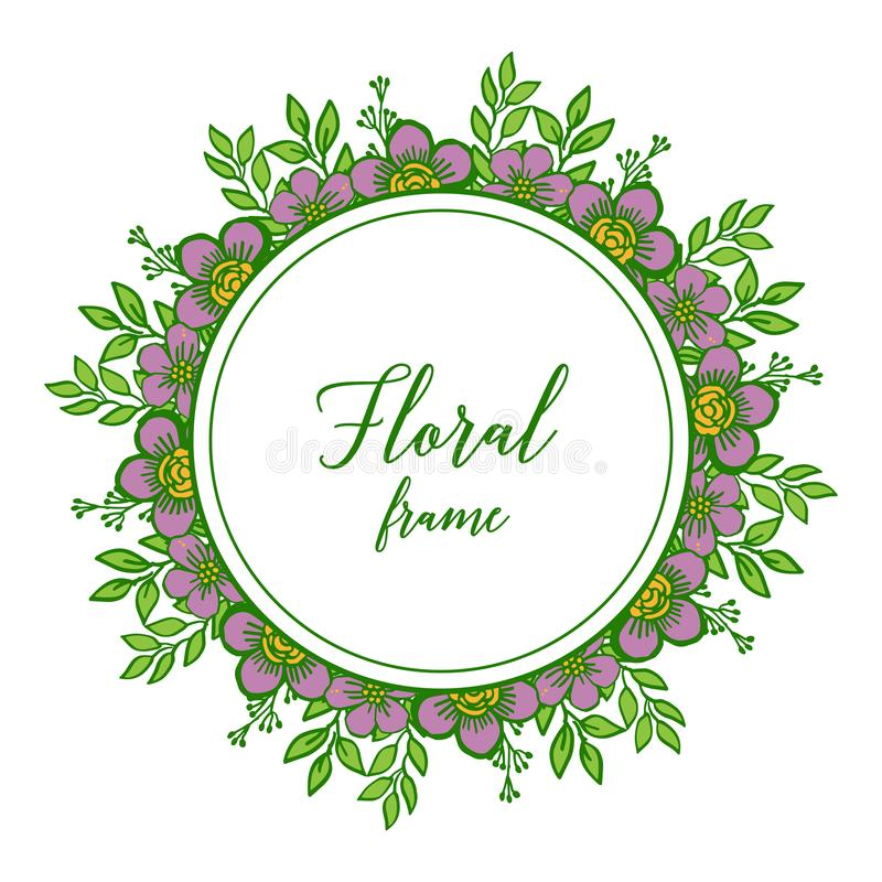 Vector illustration various variation leaf purple floral frame royalty free stock photos