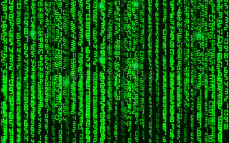 Vector illustration. Vector streaming binary code background. Data and technology, decryption and encryption, computer background stock illustration