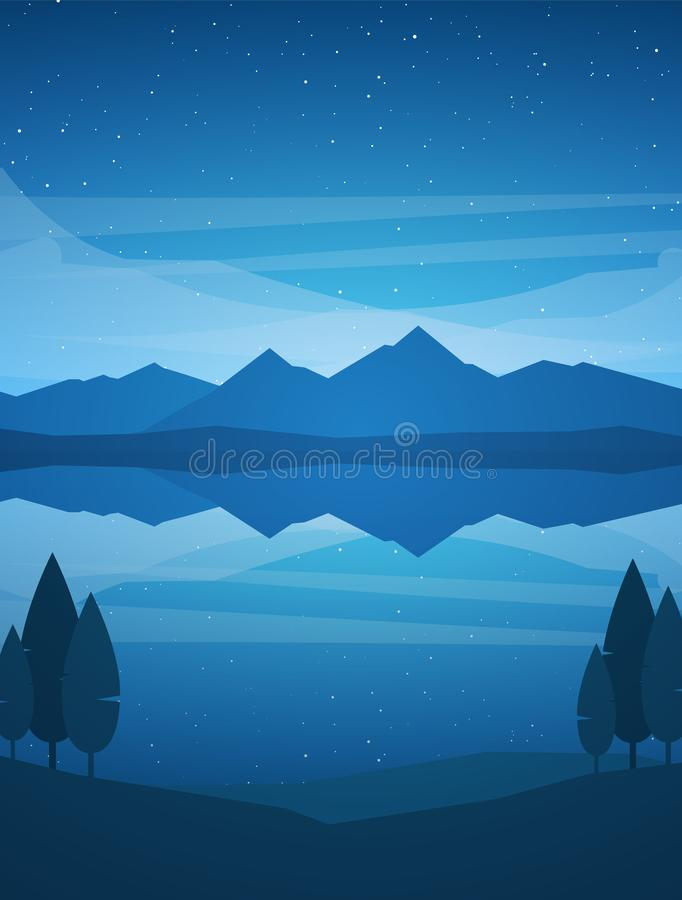 Vector illustration: Vertical Night Mountains Lake landscape with stars, reflection and trees on foreground.  stock illustration
