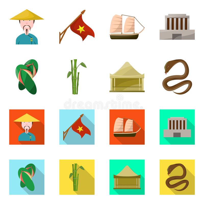 Vector illustration of vietnam and traditional icon. Collection of vietnam and culture stock vector illustration. Isolated object of vietnam and traditional royalty free illustration