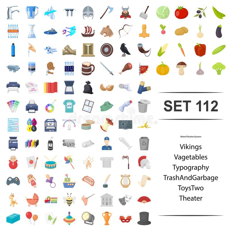 Vector illustration of viking, vegetable, typography, garbage toy theater icon set. royalty free illustration