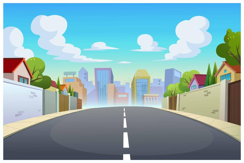 Graphics, villages and roads in the daytime. Vector illustration of villages and roads in the daytime is very beautiful vector illustration