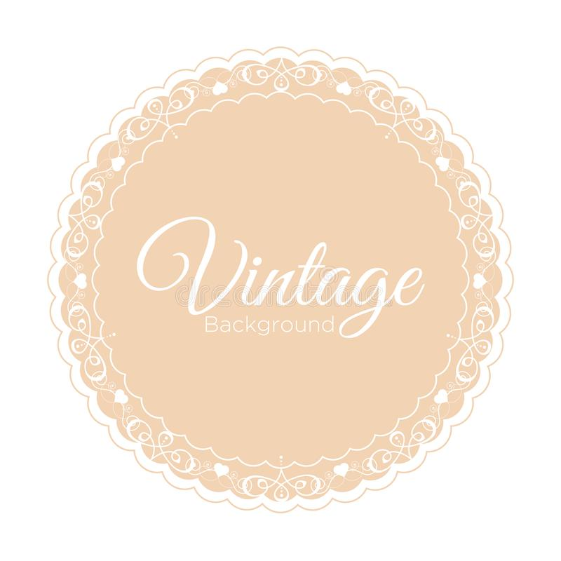 Vector illustration of vintage beige background with ornamental frame template on white background. vector illustration