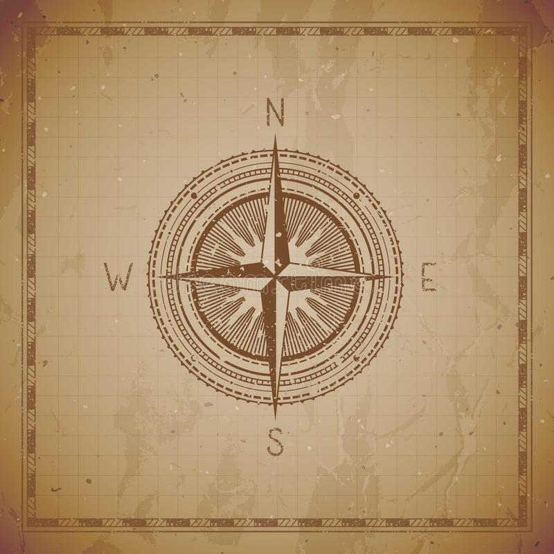Vector illustration with a vintage compass or wind rose and frame on grunge background stock illustration