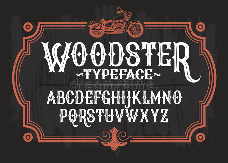 Vector illustration of a vintage font, the Latin alphabet in a retro frame with a custom motorcycle. stock illustration