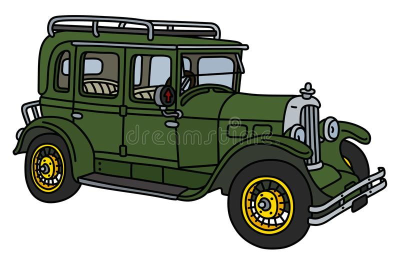 The retro green car royalty free illustration