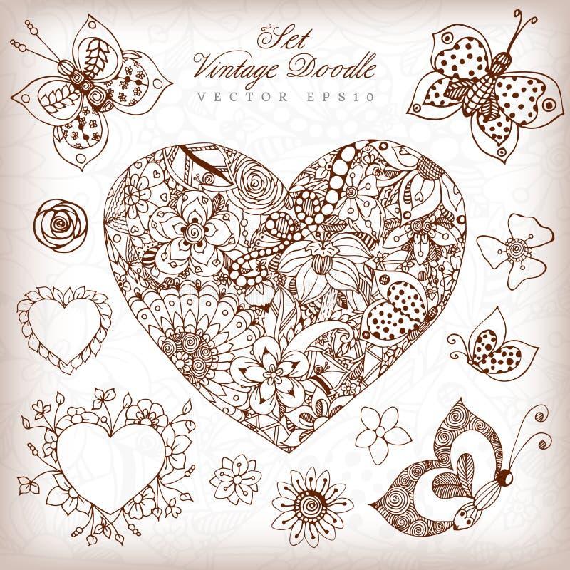 Adult Coloring Books Royalty Free Vector Download Illustration Vintage Heart Set Zentangl In Colors Rose Butterfly Dudlart