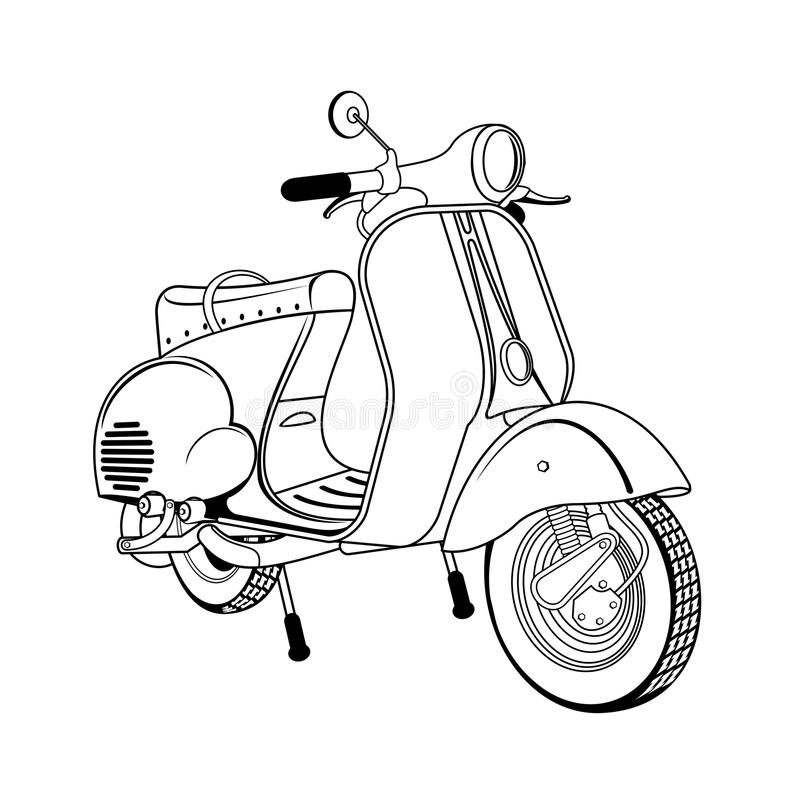 Vector illustration of vintage scooter. Emblems and label. Scooter popular means of transport in a modern city. Advertisements, brochures, business templates royalty free illustration