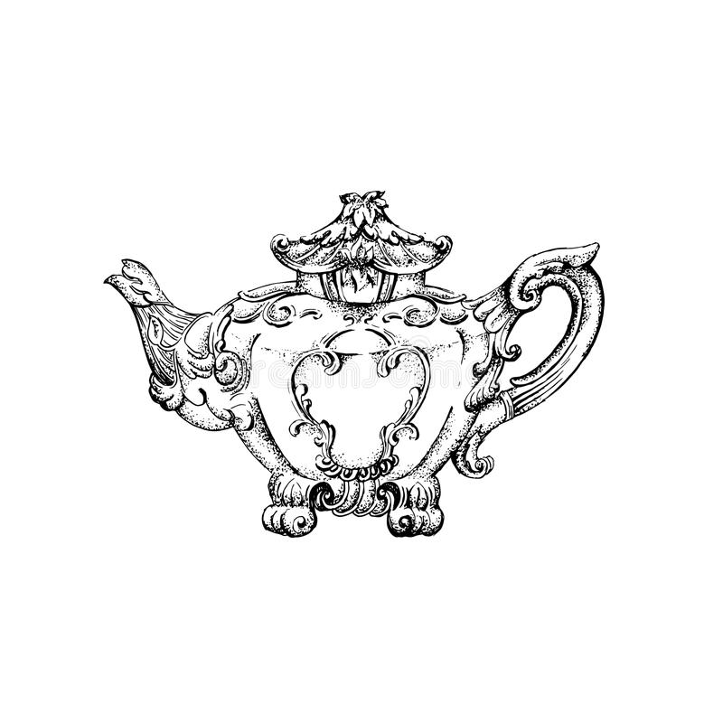 Vector Illustration Of Vintage Teapot With Floral Decor Made In Hand ...