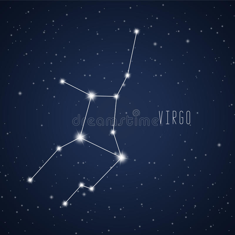 Vector illustration of Virgo constellation stock photography