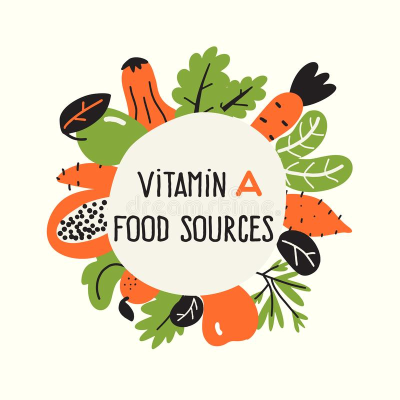Vector illustration of Vitamin A rich foods. Food frame. Healthy lifestyle concept. Vector illustration of Vitamin A rich foods. Food frame. Healthy lifestyle stock illustration