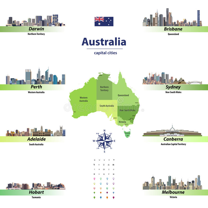 Vector Illustration von Australien-Staaten aufzeichnen mit Skylinen von Hauptstädten vektor abbildung