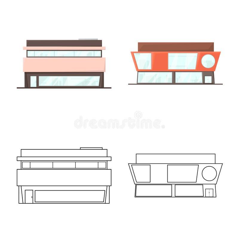Vector Illustration von Boutique- und Bauzeichen Zeichensatz aus Boutique- und Stadtbild stock abbildung