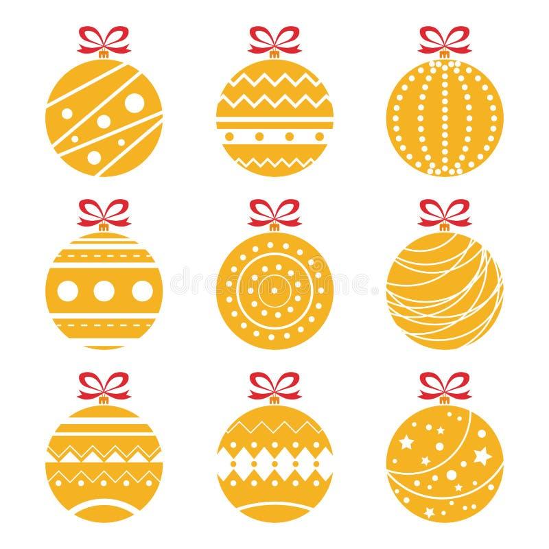 Vector Illustration von den dekorativen orange Weihnachtsbällen, die auf Weiß lokalisiert werden stock abbildung