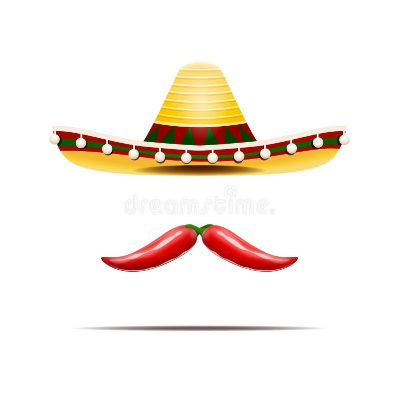 Vector Illustration von den mexikanischen lokalisierten Sombrero- und Paprikapfeffern stock abbildung