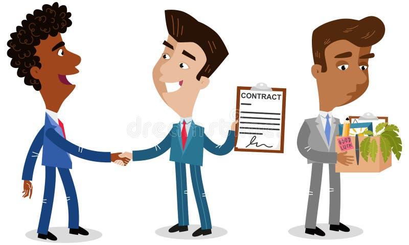 Vector Illustration von drei Karikaturgeschäftsmännern, zwei rüttelnde Hände, die den Vertrag anbieten, einen, der abgefeuert wir stock abbildung