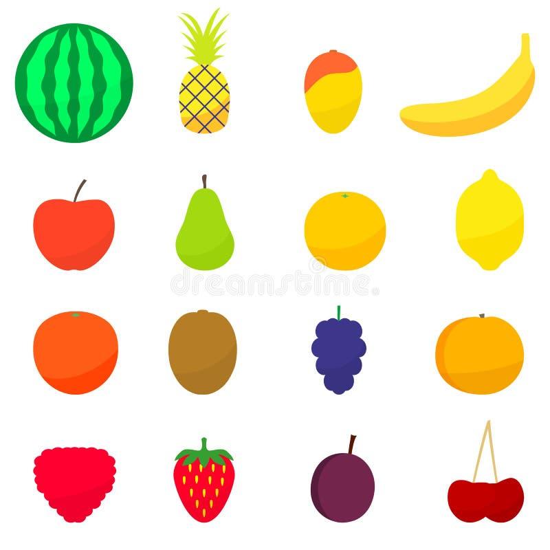 Vector Illustration von flachen bunten Früchten eines Satzes lizenzfreie stockfotos