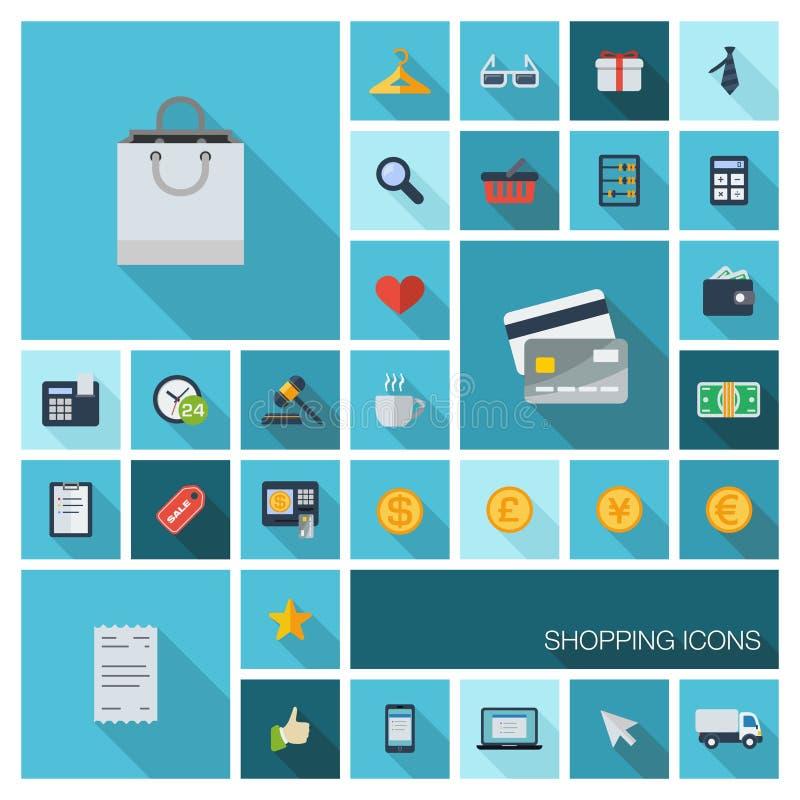 Vector Illustration von flachen Farbikonen mit langem Schatten für Kleinhandel und Marketing, Einkaufen stock abbildung