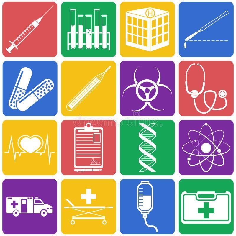 Vector Illustration von medizinischen Ikonen auf weißem Hintergrund Flaches s stockfotografie