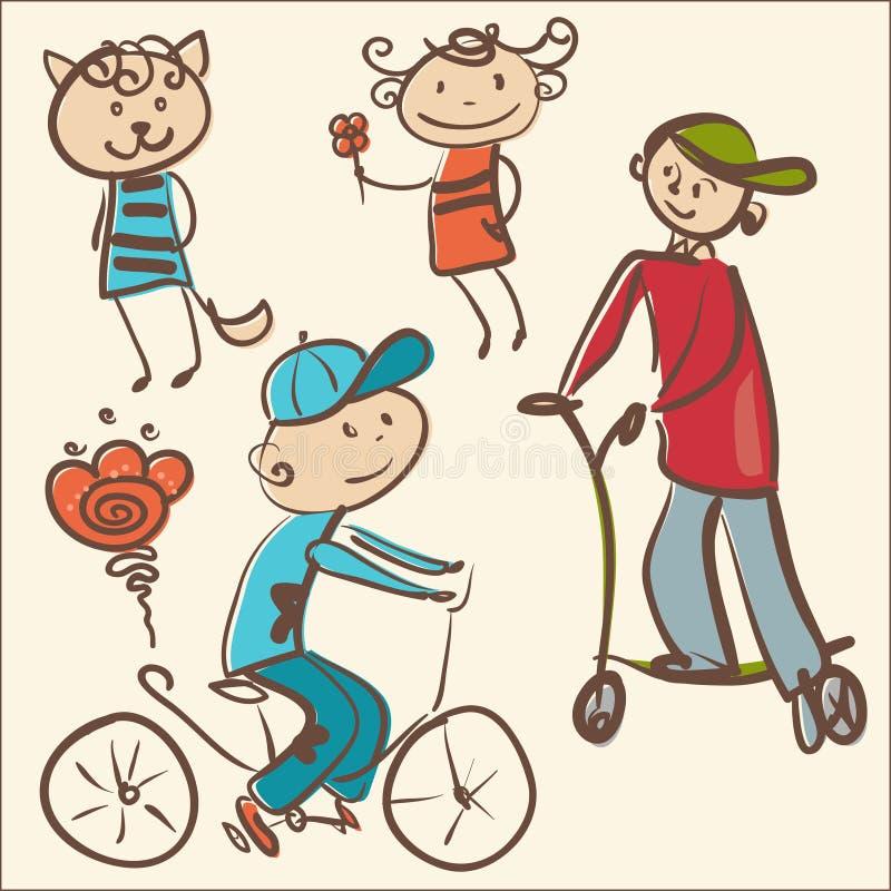Vector Illustration von netten aktiven Kindern und von kleinen Katze lizenzfreie stockbilder