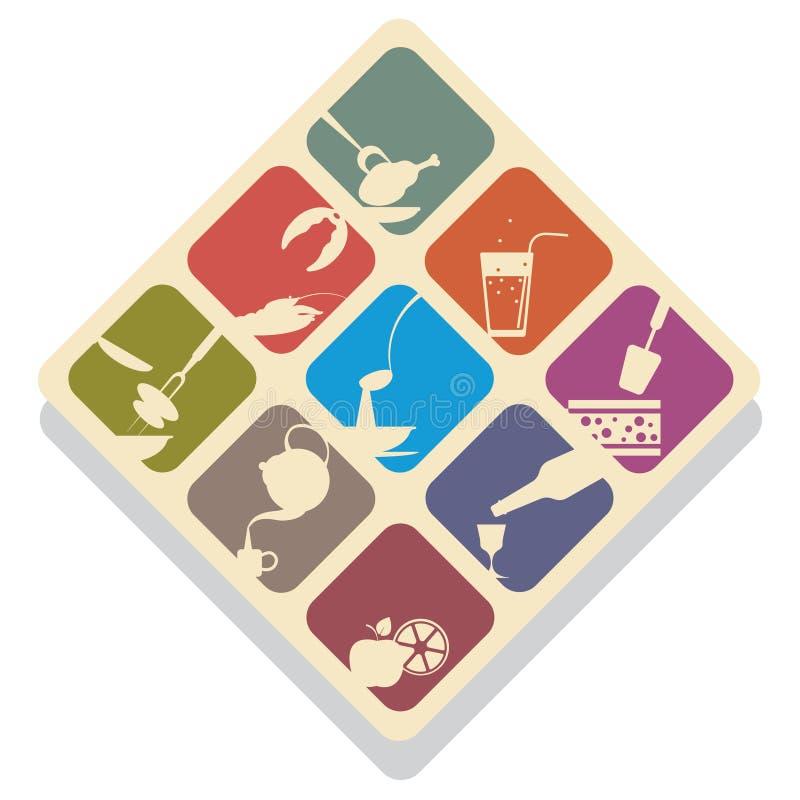 Vector Illustration von neun flachen Ikonen - die Schattenbilder, die Lebensmittel darstellen und halten Sie instand vektor abbildung