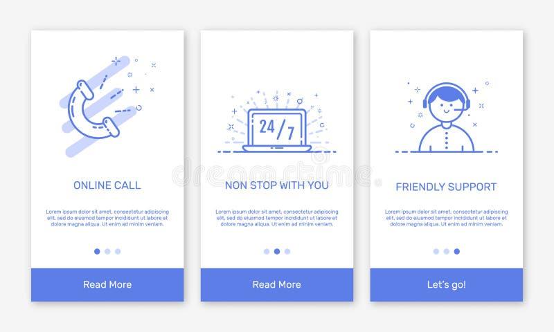 Vector Illustration von Onboarding APP-Schirme und flache Linie Netzikonen für E-Commerce-Mobile apps lizenzfreie abbildung