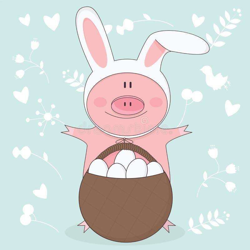 Vector Illustration von Ostern-Schwein mit den Häschenohren lizenzfreie abbildung