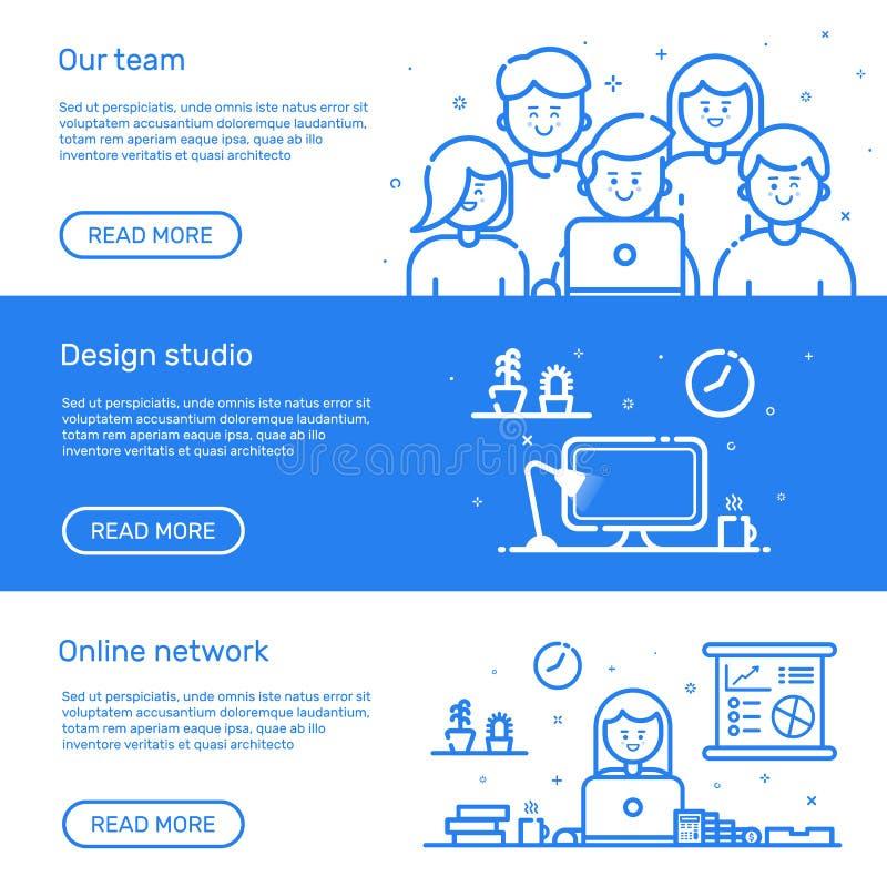 Vector Illustration von Satzwebsitefahnen mit blauer Ikone in der flachen Linie Art Lineare nette und der glücklichen Menschen Te stock abbildung