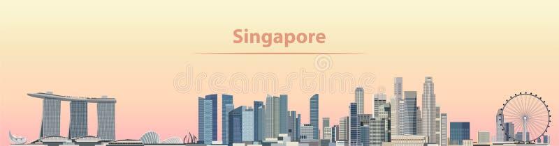 Vector Illustration von Singapur-Stadtskylinen bei Sonnenaufgang stock abbildung
