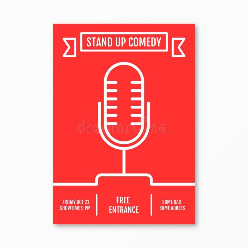 Vector Illustration von stehen oben Komödie im Nachtclubereignis lizenzfreie abbildung