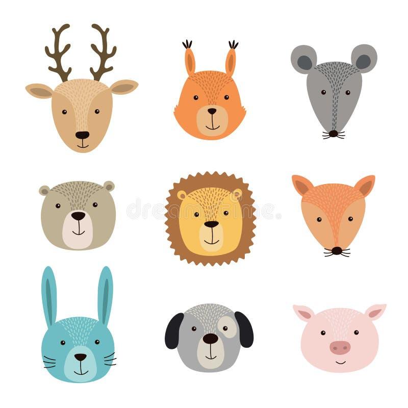 Vector Illustration von Tiergesichtern einschließlich Rotwild, Eichhörnchen, Hase, Löwe, Schwein, Fuchs, Maus, Hund, Bär lizenzfreie abbildung