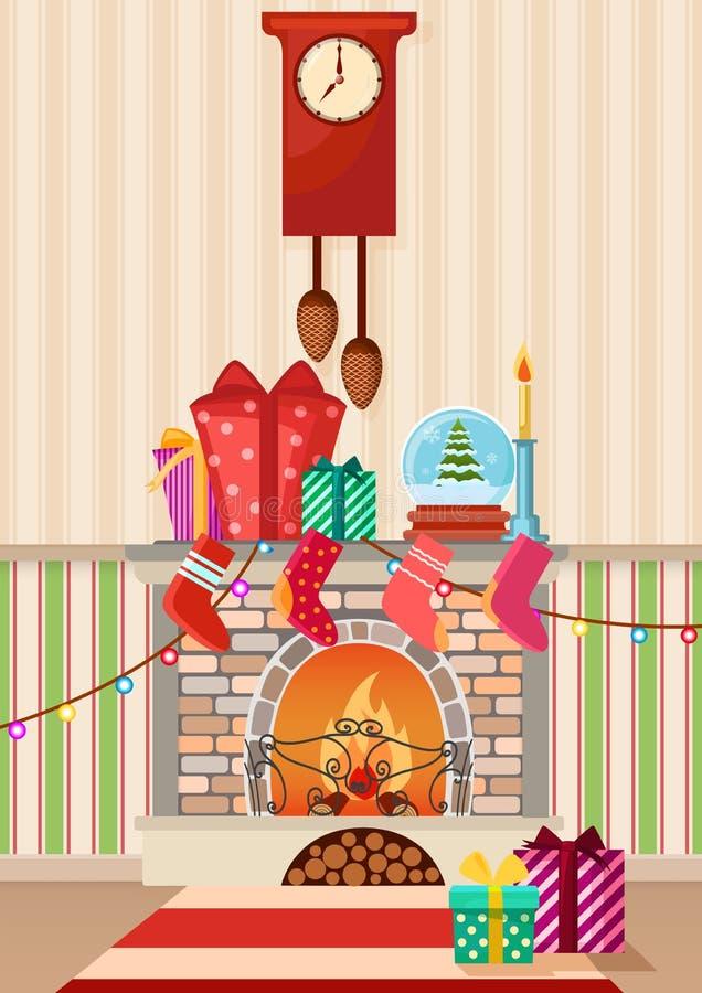 Vector Illustration von unterschiedlichen Geschenken und von Kamin zu Hause Rote Hintergrundnahaufnahme stock abbildung