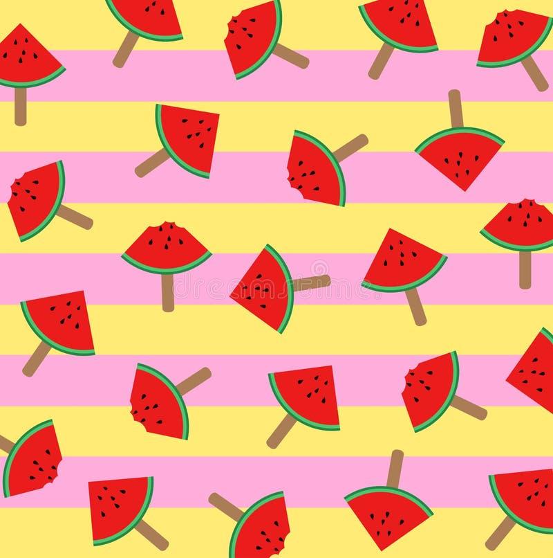 Vector Illustration von WassermelonenEiscremescheiben auf einem Stock mit buntem Musterhintergrund lizenzfreie abbildung