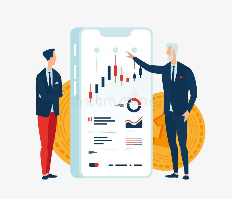 Vector Illustration von zwei Geschäftsmannfinanzieren vor dem Schirmgerät mit Diagrammen von Finanzindikatoren stock abbildung