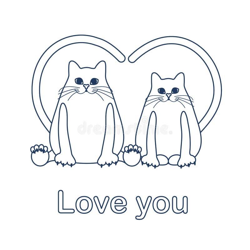 Vector Illustration von zwei Katzen mit Herz geformten Endstücken Liebe, romantisches Konzept Glücklicher Valentinsgruß \ 's-Tag  stock abbildung