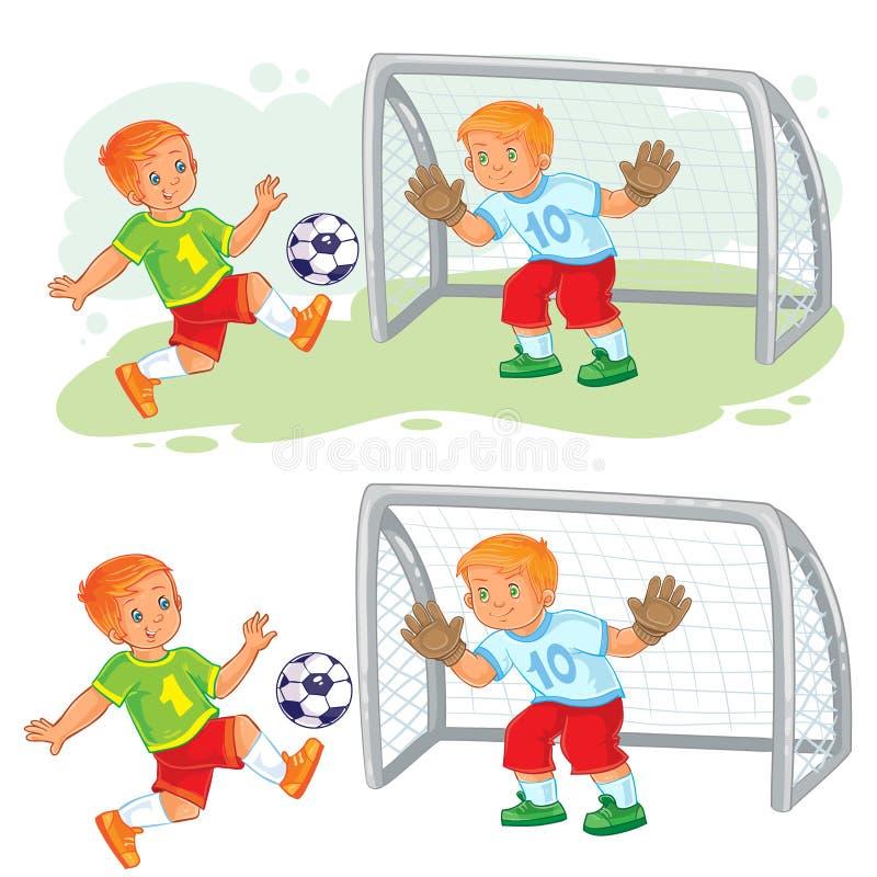 Vector Illustration von zwei kleinen Jungen, die Fußball spielen lizenzfreie abbildung