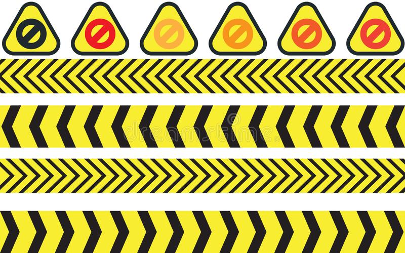 Vector illustration of warning icons. EPS 10 royalty free illustration