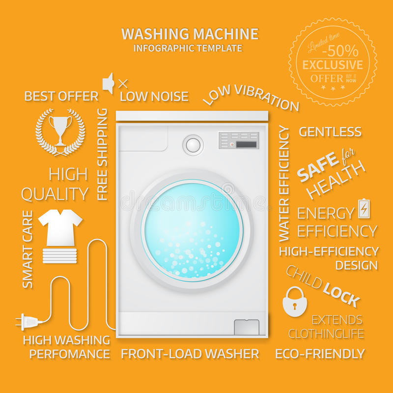 Vector illustration of washer. Infographic temlate. Cover or brochure design stock illustration