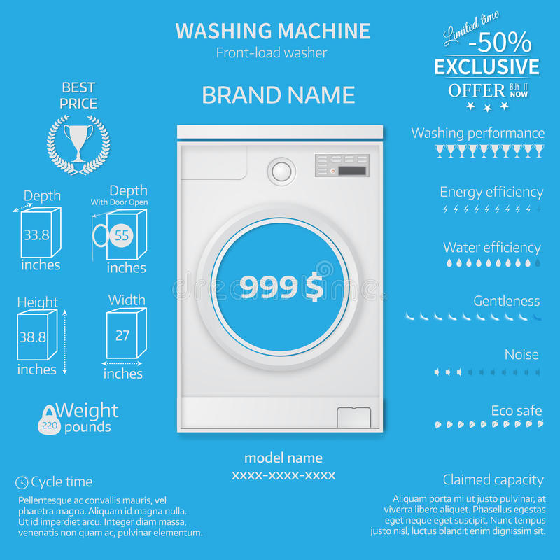 Vector illustration of washer. Infographic temlate. Cover or brochure design vector illustration