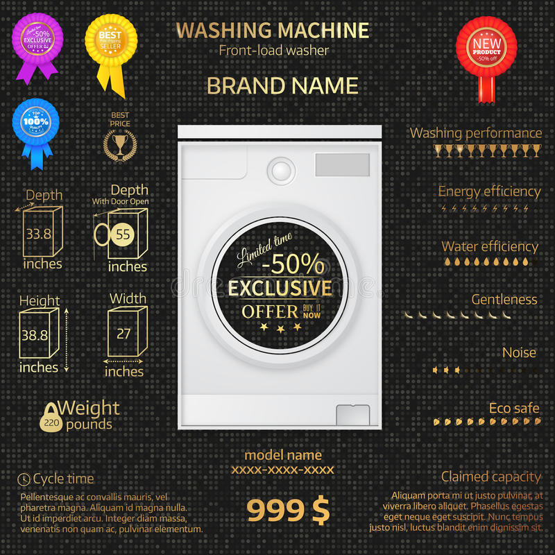 Vector illustration of washer. Infographic temlate. Cover or brochure design. Luxury background. Gold letters royalty free illustration