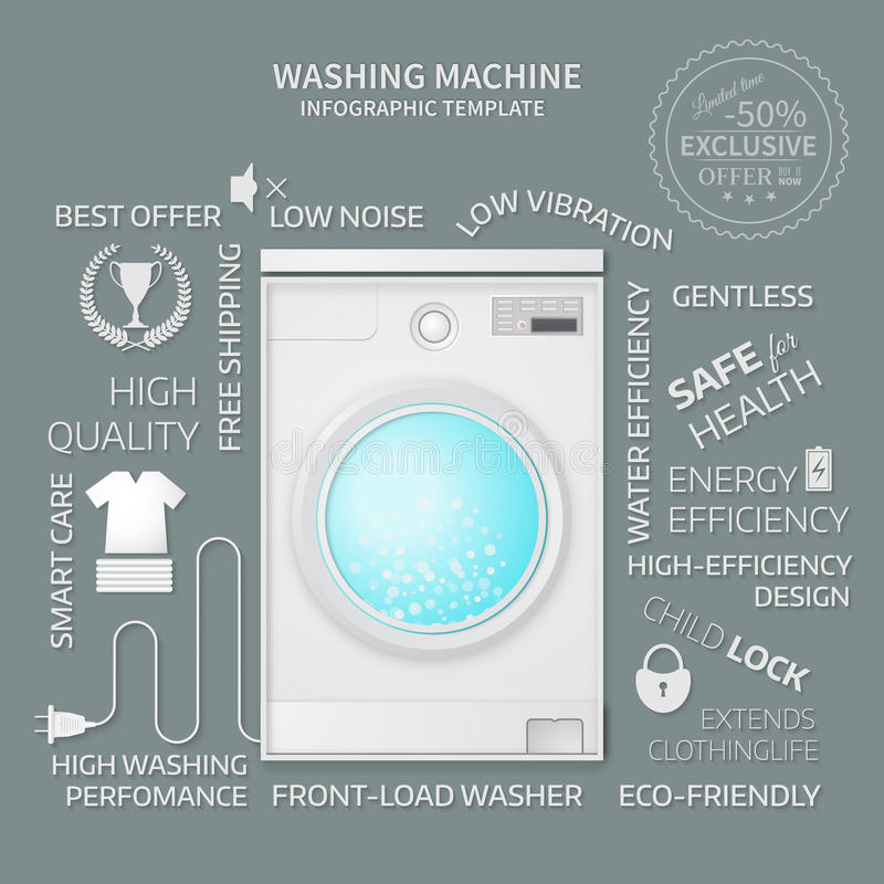 Vector illustration of washer. Infographic template. Cover or brochure design vector illustration