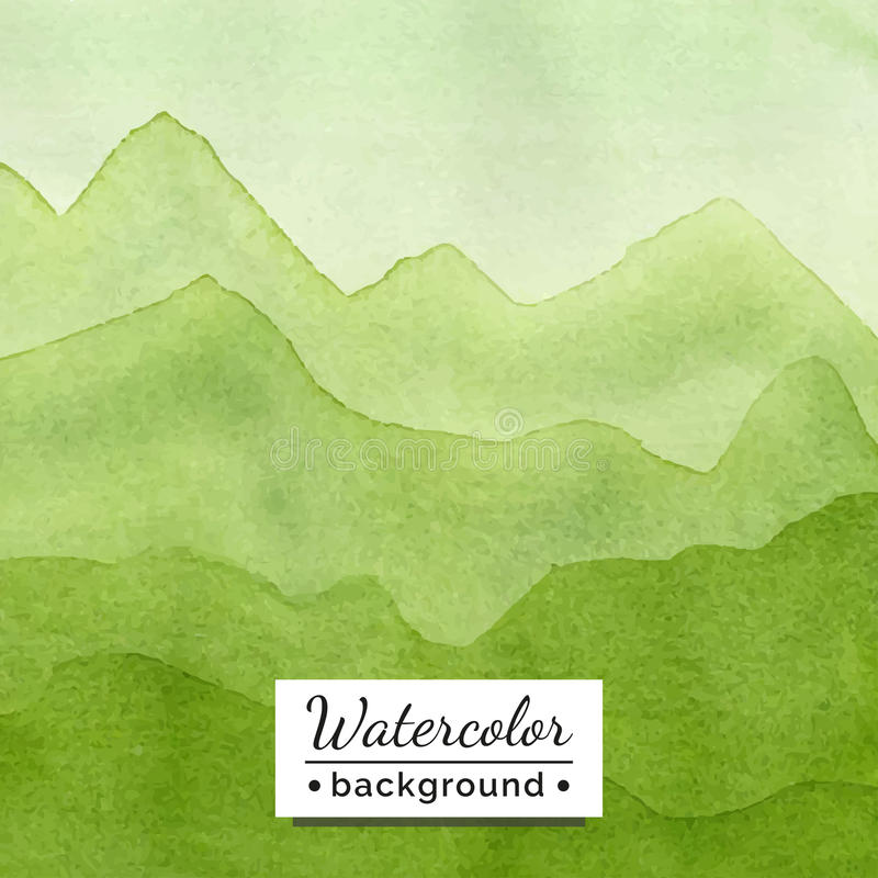 Vector illustration. Watercolor landscape with mountains. The template for the poster, cover, advertising. Blurred landscape with watercolor texture. Handmade stock illustration