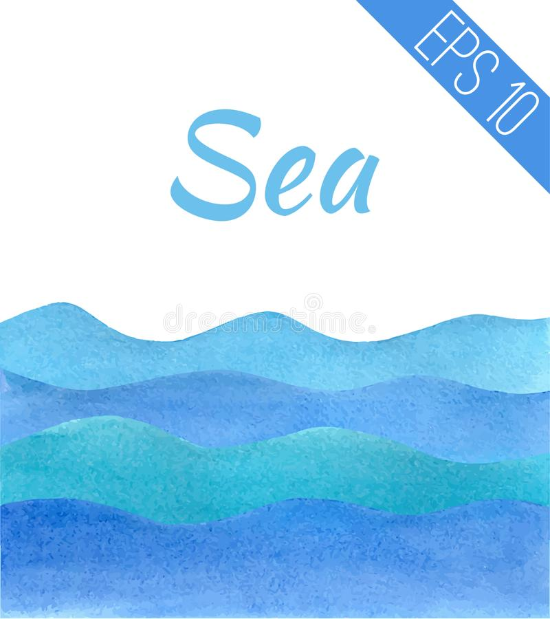 Vector illustration. Waves painted with blue watercolor of different colors. royalty free illustration