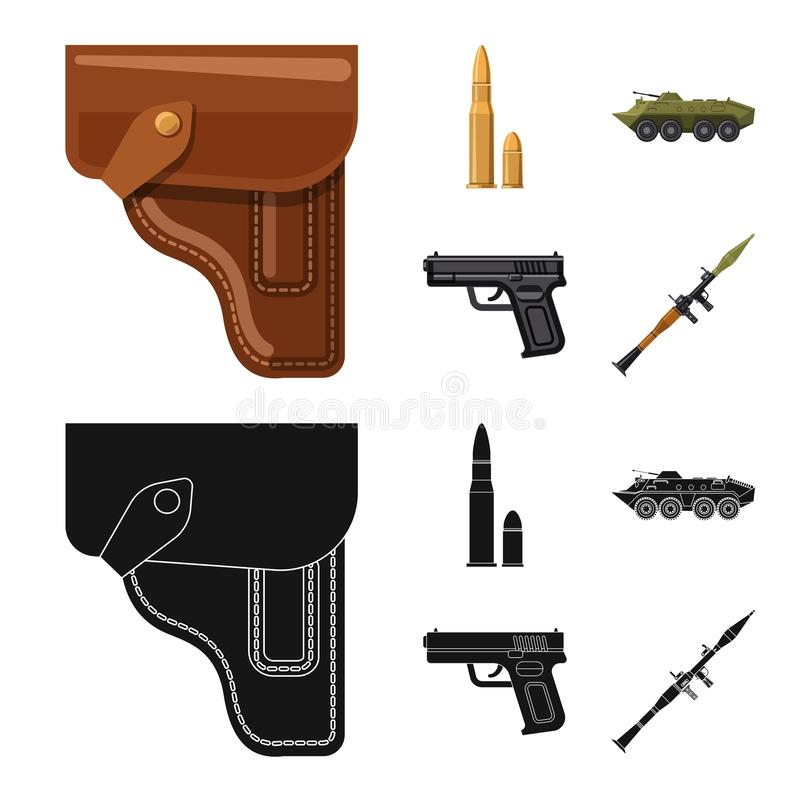 Vector illustration of weapon and gun icon. Set of weapon and army stock vector illustration. Isolated object of weapon and gun symbol. Collection of weapon and royalty free illustration