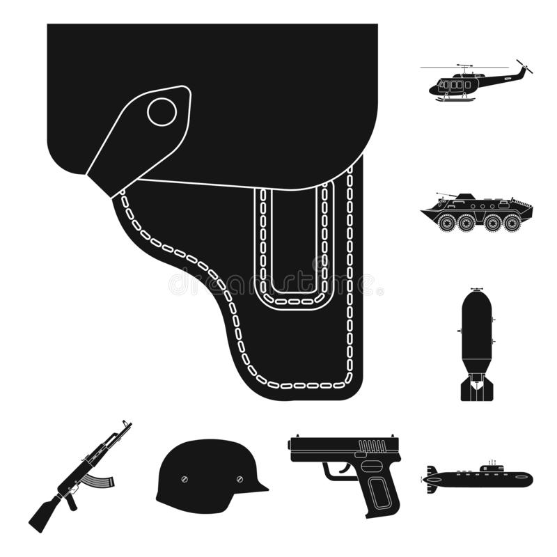 Vector design of weapon and gun sign. Collection of weapon and army vector icon for stock. Vector illustration of weapon and gun logo. Set of weapon and army stock illustration