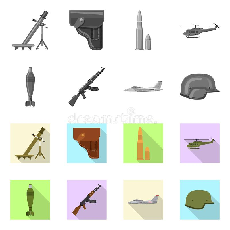 Vector design of weapon and gun symbol. Set of weapon and army vector icon for stock. Vector illustration of weapon and gun sign. Collection of weapon and army royalty free illustration