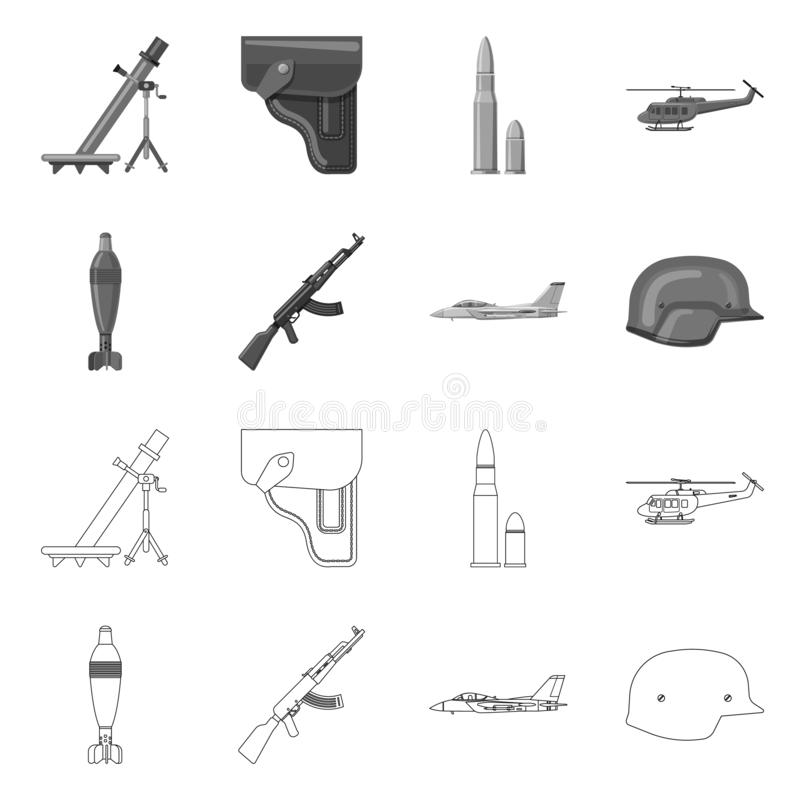 Vector illustration of weapon and gun symbol. Collection of weapon and army vector icon for stock. Isolated object of weapon and gun sign. Set of weapon and stock illustration