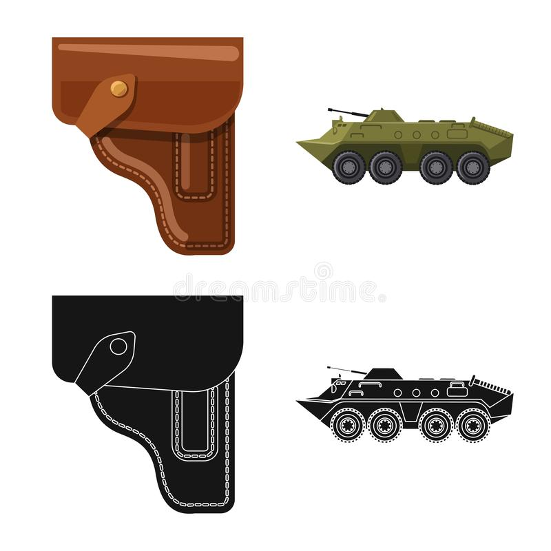 Vector design of weapon and gun icon. Collection of weapon and army stock symbol for web. Vector illustration of weapon and gun symbol. Set of weapon and army stock illustration
